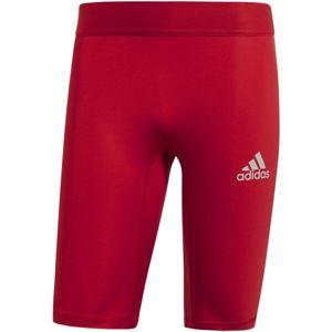 adidas ALPHASKIN SPORT SHORT TIGHTS  M červená M - Pánské spodní trenky