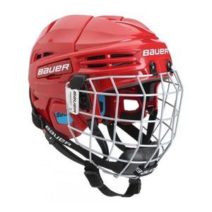 Bauer PRODIGY COMBO YTH červená (48 - 53,5) - Dětská helma s mřížkou