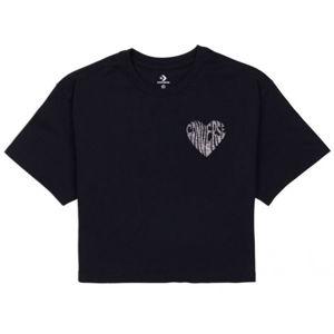 Converse WOMENS  LEFT CHEST HEART CROPPED TEE černá L - Dámské crop tričko