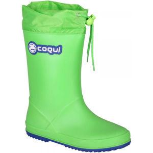 Coqui RAINY COLLAR zelená 35 - Dětské holínky