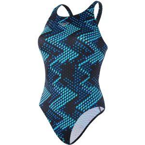 Speedo MIRRORGLARE ALLOVER POWERBACK černá 40 - Dámské plavky