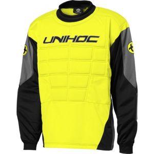 Unihoc GOALIE SWEATER BLOCKER JR žlutá 170 - Dětský brankářský dres